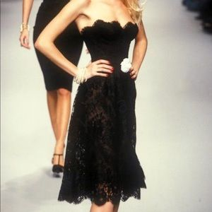 Iconic Chanel Vintage Fall 1995 Black Lace Dress